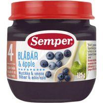Semper Puré Frukt Blåbär & Äpple - 4 mån