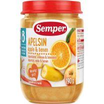 Semper Puré Frukt Apelsin, Äpple och Banan - 8 mån